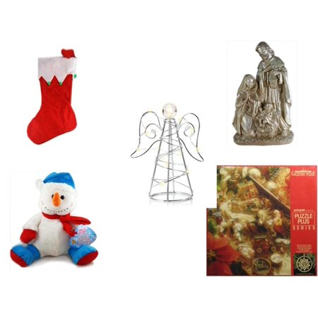 Christmas Fun Gift Bundle [5 Piece] - Red Felt Stocking Green Balls 15