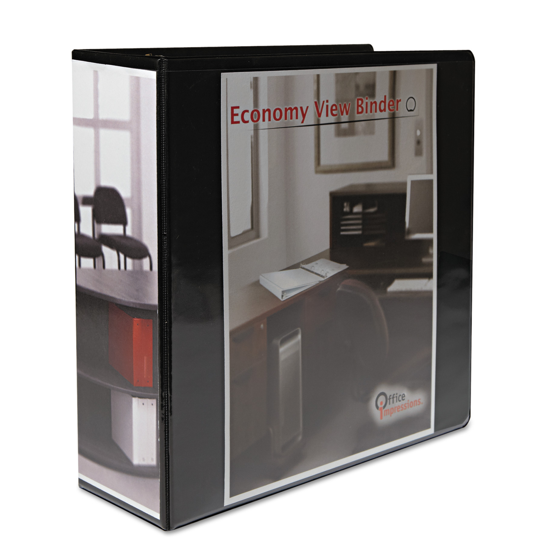 "Office Impressions Economy Round Ring View Binder, 3"" Capacity, Black"