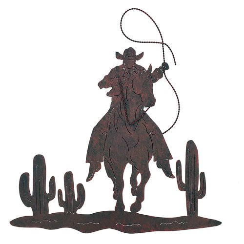 Modern Home Retro Rusty Roping Cowboy Iron Wall Art