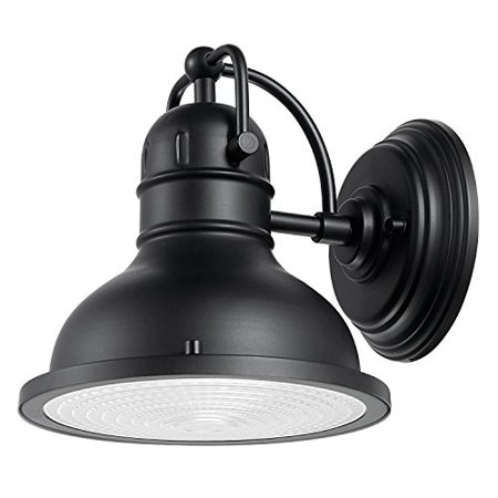 Globe Electric Harbor 1 Light Outdoor Wall Sconce Matte Black Finish Clear Plastic
