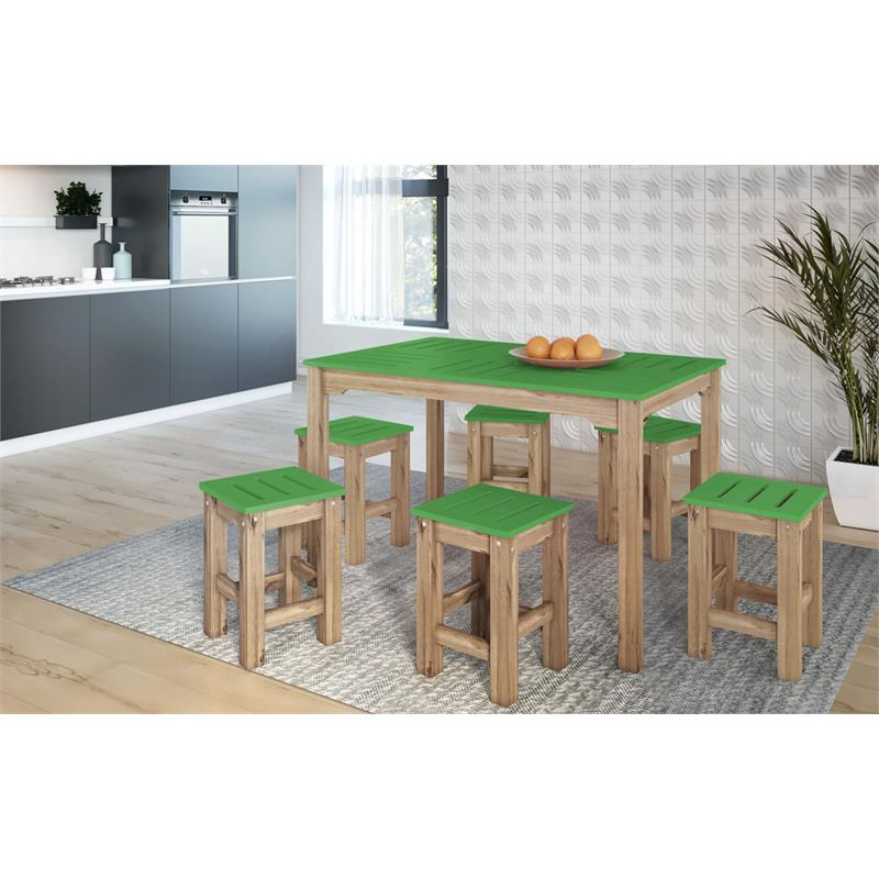 "7-Piece Stillwell 47.25""  Dining Set  in Green and Natural Wood"