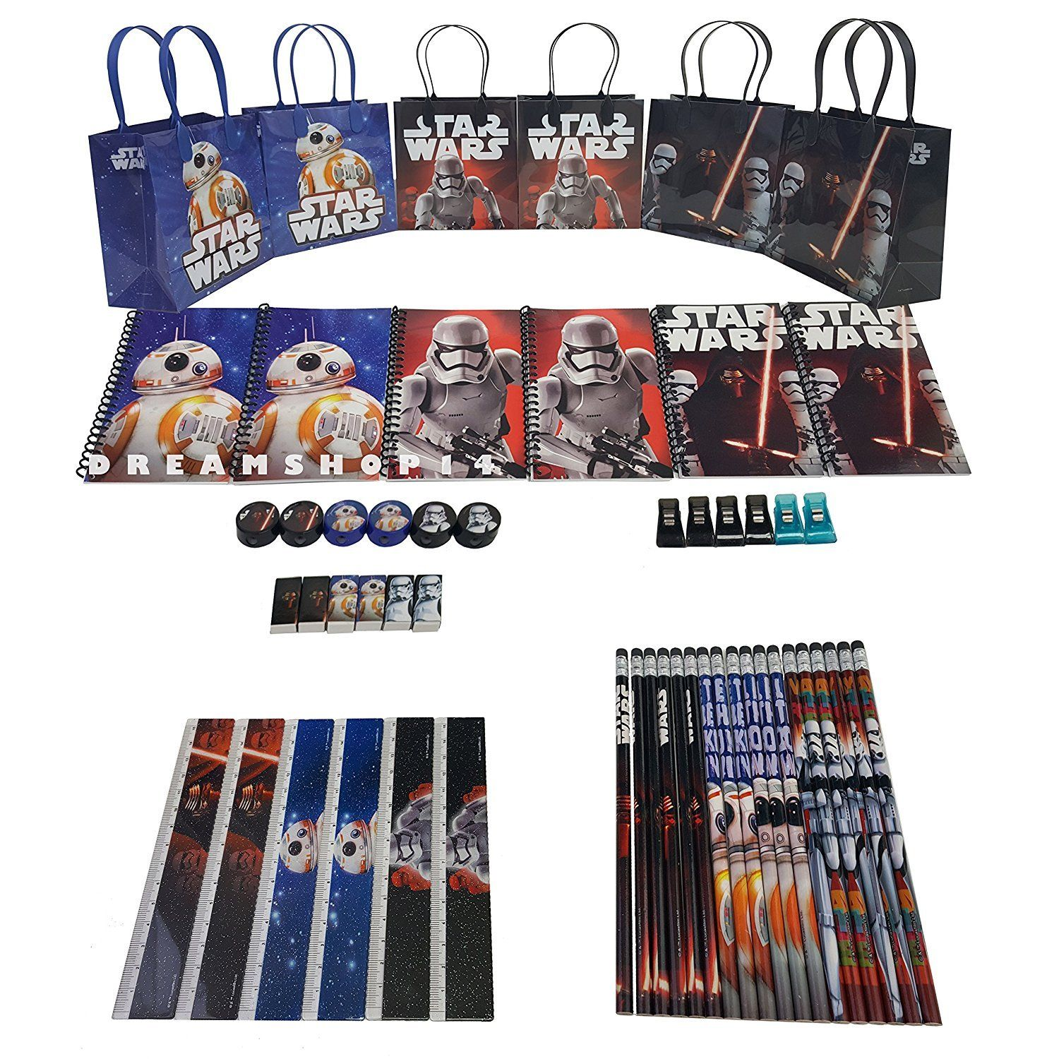 Party Favors Disney Star Wars Party Favor Stationery Set - 6 Pack (54 Pcs)