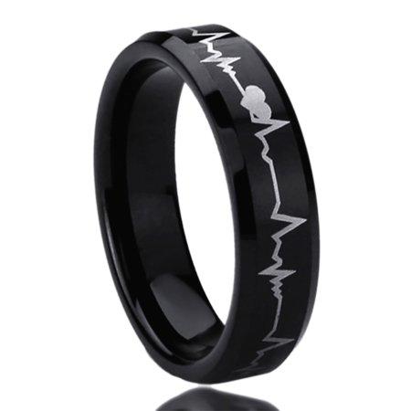 Men Women 6MM Titanium Comfort Fit Wedding Band Ring Laser Engraved Forever Love Heartbeat Black Ring (5 to 11)