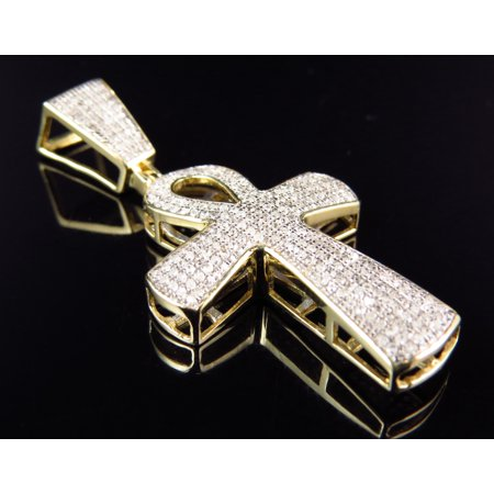 10K Yellow Gold Ankh Cross Diamond Pendant 0.65 Ct - 0.65 Ct Diamond Center