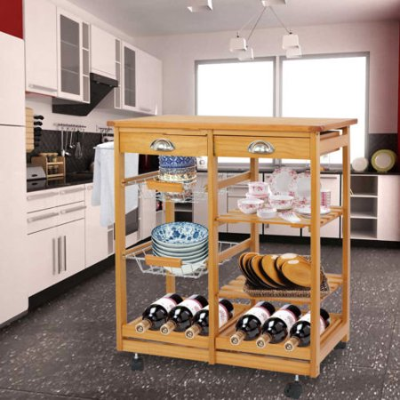 Kitchen Island Shelves - ZENY Wood Rolling Kitchen Island Trolley Cart Storage Shelf Drawers Basket Dining
