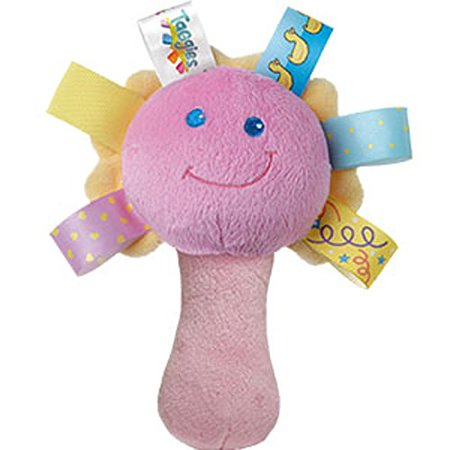 Taggies See Me Rattle This soft rattle is assorted in three colors and features a mirror, squeaker, and the patented Taggies that babies love to hold.