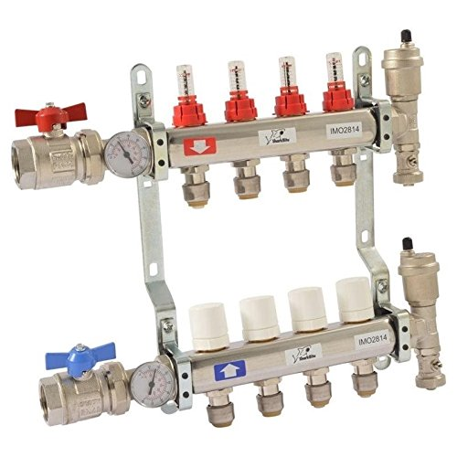 1 in. NPT Inlet x 1/2 in. Push-Fit 4-Outlet Radiant Heating Manifold