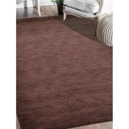 10 x 13 ft. Solid Hand Knotted Loom Woolen Solid Area Rug, Brown