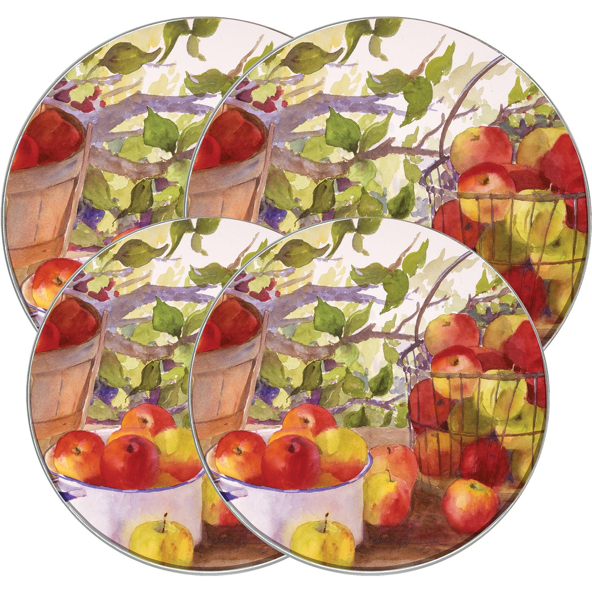 "Range Kleen 4-Piece Burner Kover Set, Round Decorative ""Apple Harvest"""
