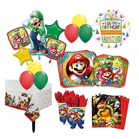 The Ultimate 16 Guest 94pc Super Mario Brothers Birthday Party Supplies - Mario Birthday Party
