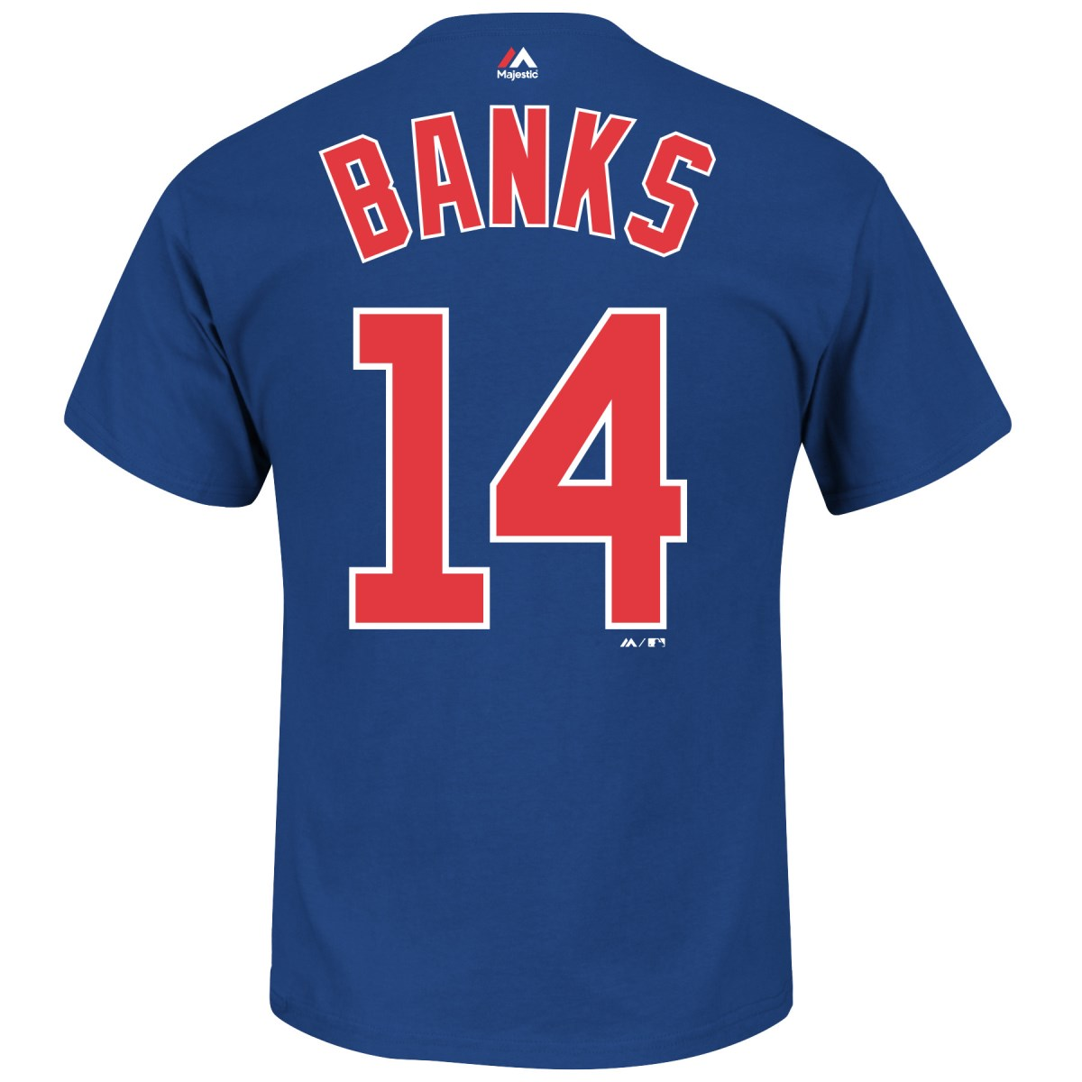 Ernie Banks Chicago Cubs MLB Majestic Cooperstown Player Blue T-Shirt