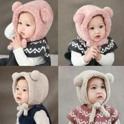 Baby Toddler Girls Boys Warm Hat Winter Beanie Hat Cute Bear Ear Plush Cap