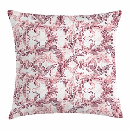Maroon And White (Floral Throw Pillow Cushion Cover, Romantic Nature Scroll Style Pattern with Hand Drawn Leaves and Petals, Decorative Square Accent Pillow Case, 20 X 20 Inches, Maroon Coral and White, by)