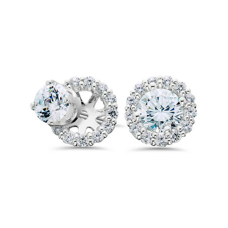 Women S 3 4ct Diamond Studs And Halo Earring Jackets Solid 14k White Gold