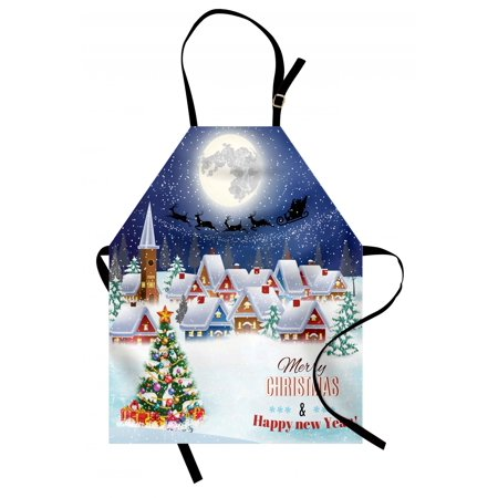 Christmas Apron Moon Santa Claus Reindeer Hovering in Winter Sky of a Small Village Illustration, Unisex Kitchen Bib Apron with Adjustable Neck for Cooking Baking Gardening, Navy White, by Ambesonne