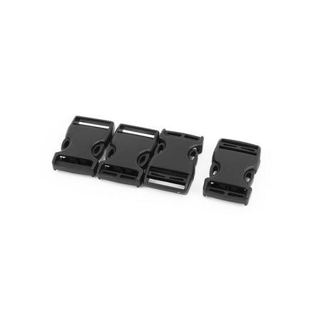 Unique Bargains 4pcs Black Plastic  Side Quick Release Buckles Clip for 25mm Webbing Band