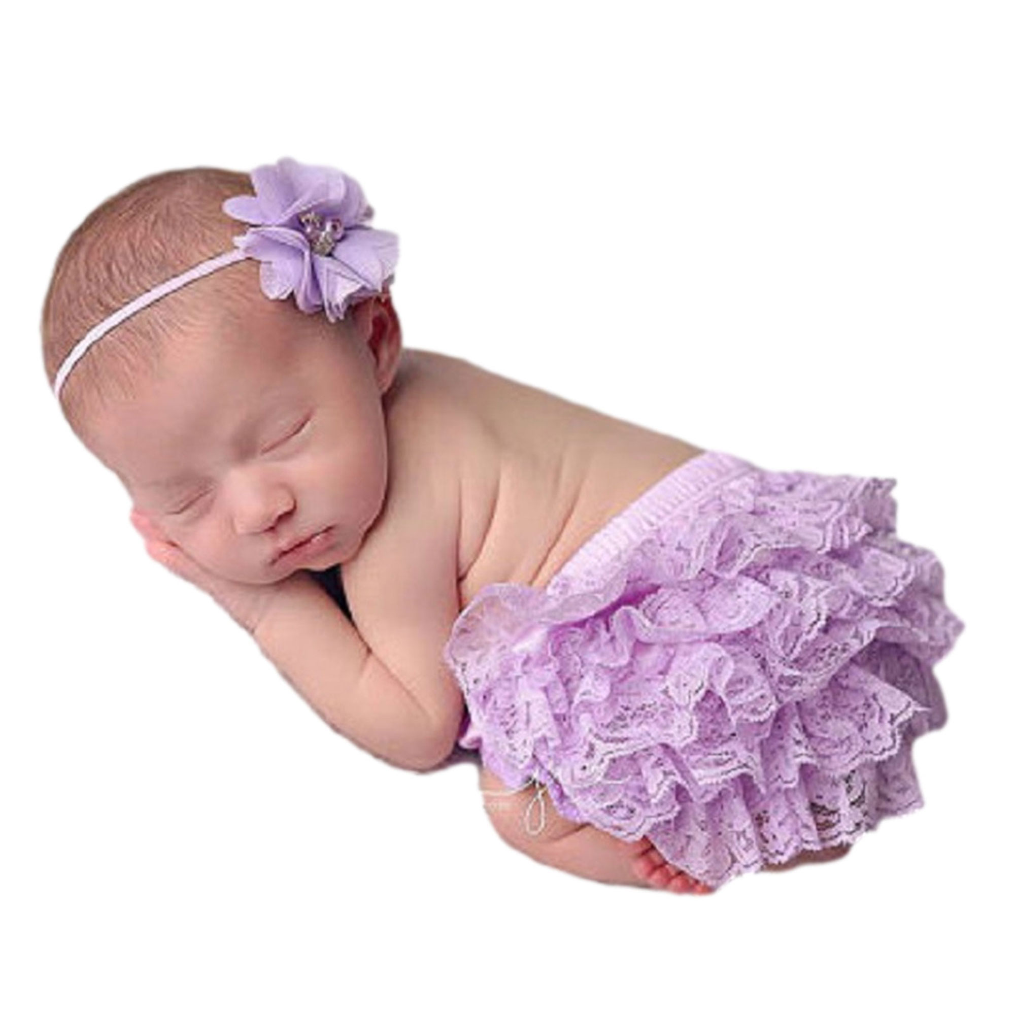 Infant Bloomers Toddler Bloomers Diaper Cover Spring Bloomers Purple High Waist Baby Bloomers with Matching Headband