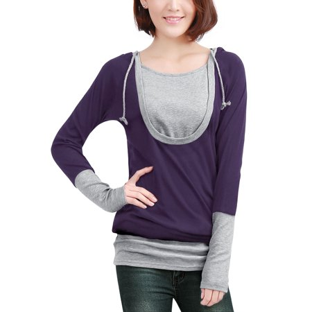Robin Hood Tunic (Unique Bargains Women's Pullover Long Sleeves Drawstring Hooded Tunic)