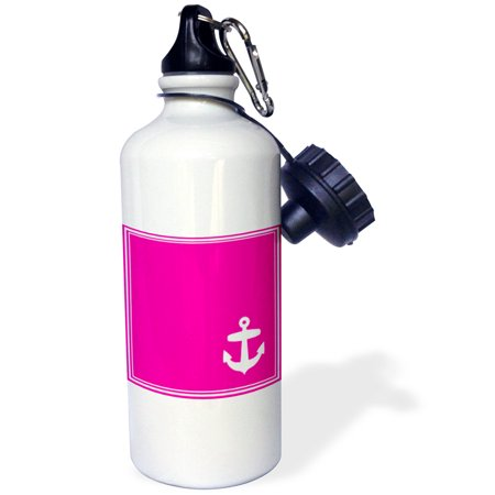 3dRose Contemporary Stylish Nautical White Sailing Anchor in Corner on Hot Pink with white border, Sports Water Bottle, 21oz