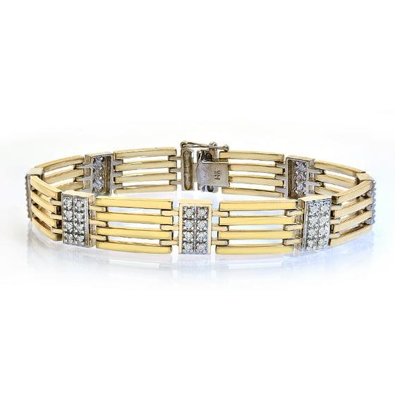 5b886062049 Avital   Co - 1.25 Carat Mens Diamond Bracelet 14K Yellow Gold - Walmart.com