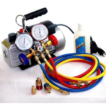 Deluxe R134a R12 R22 R502 Manifold Gauge Set & 2.5CFM Vacuum Pump 5ft HVAC Hoses by I_S IMPORT