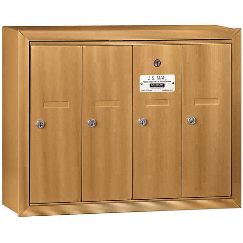 Salsbury Industries Vertical Mailbox, 4 Doors, Surface Mounted, USPS Access
