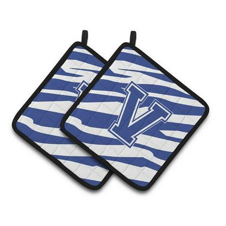 Carolines Treasures CJ1034-VPTHD Monogram Initial V Tiger Stripe Blue & White Pair of Pot Holders, 7.5 x 3 x 7.5 in. - image 1 de 1