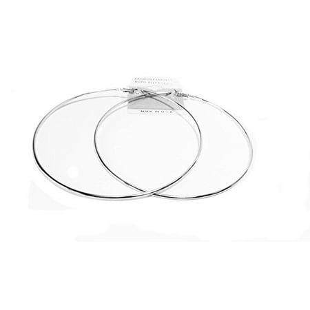 Large 4 inch Hoop Earrings Silver Plated Hypo-Allergenic Hoop Earrings