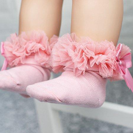 Raypadula Girls Baby Tutu Socks Spanish Satin Bow Socks Soft Frilly Tulle Kids Ages 4-6 Years