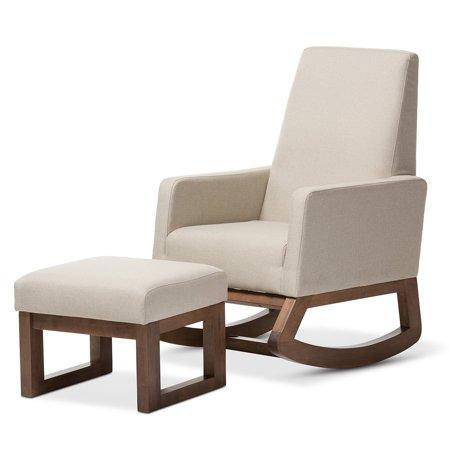 Baxton Studio Yashiya Mid-Century Retro Modern Rocking Chair and Ottoman Set