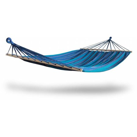 Hammaka Woven 2 Person Hammock - Blue FeaturesHammaka Woven 2 Person HammockThe Hammaka Brazilian Style Hammock With Spreader Bars combines durability and comfort into a classic Brazilian design.It takes only seconds to set up and is big enough for two (2) adults to lounge comfortably.Add some color to your outdoor space with any of our classic striped designs and enjoy some rest in what is sure to be the favorite hang out spot in the houseColor - BlueDimensions - 1 x 62 x 86 in.- SKU: ZX9KNKG02392