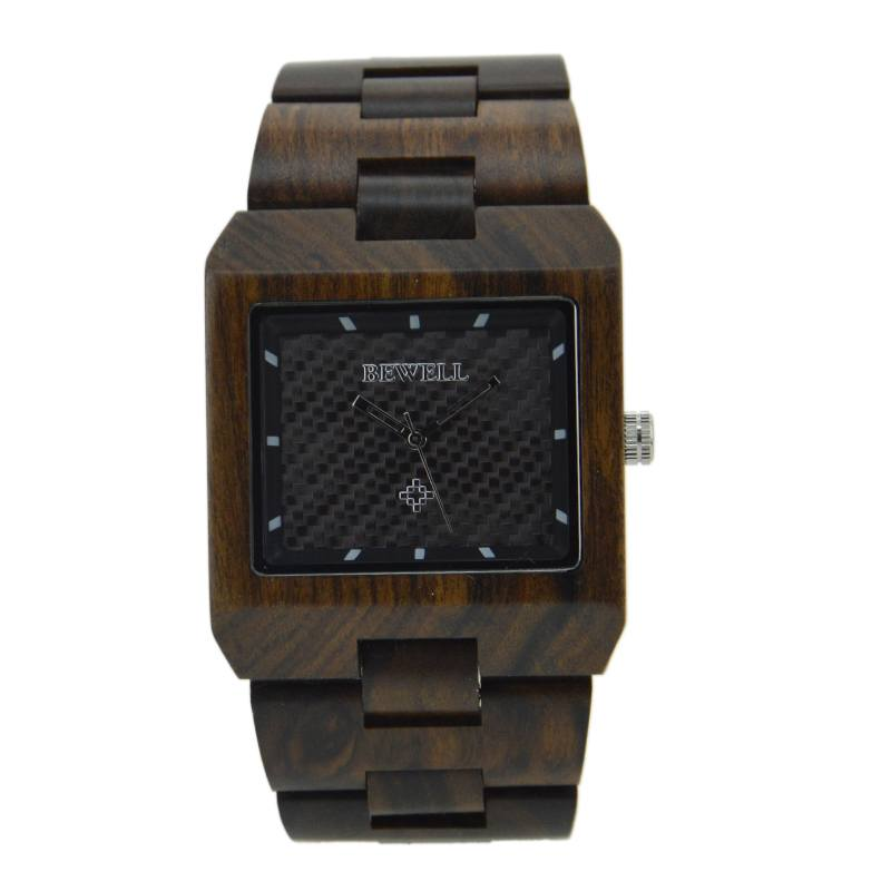 Bewell Black Sandalwood Watch For Men With Square Profile