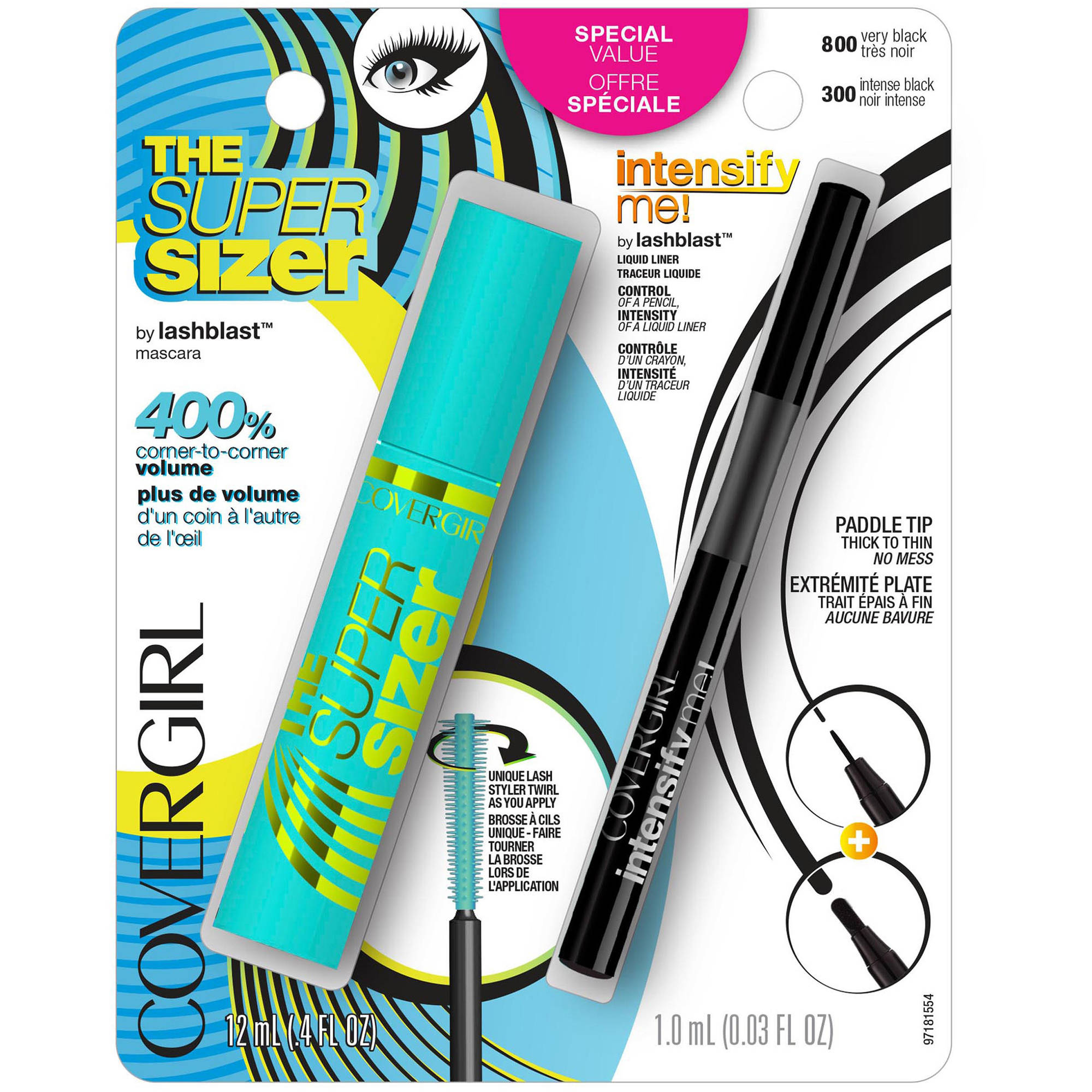 COVERGIRL The Super Sizer Mascara & Intensify Me! Liquid Liner by Lashblast Combo Pack, 2 pc