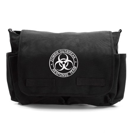 Zombie Outbreak Response Team Army Heavyweight Canvas Messenger Shoulder Bag