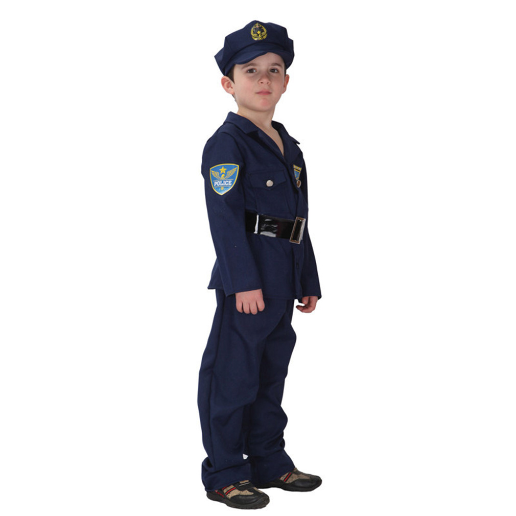 Kids' Police Officer Costume Set with Uniform & Hat, L by