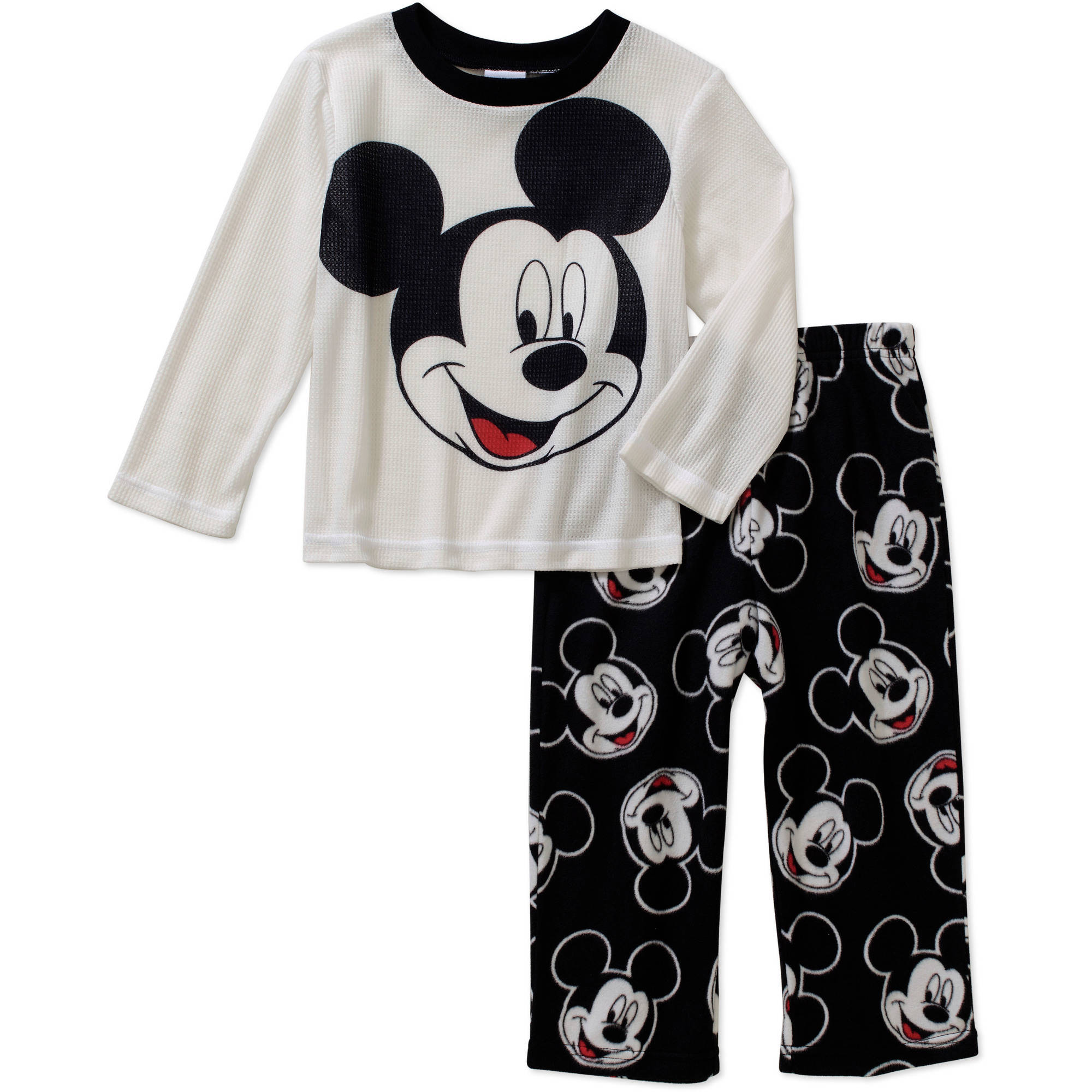 Mickey Mouse Toddler Boys' Long Sleeve Top with Fleece Pants Pajama 2 Piece Set