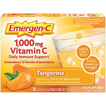 Emergen-C 1000mg Vitamin C Powder, with Antioxidants, B Vitamins and Electrolytes for Immune Support, Caffeine Free Vitamin C Supplement Fizzy Drink Mix, Tangerine Flavor - 30 Count/1 Month Supply Buried Treasure Vitamin C Vitamins