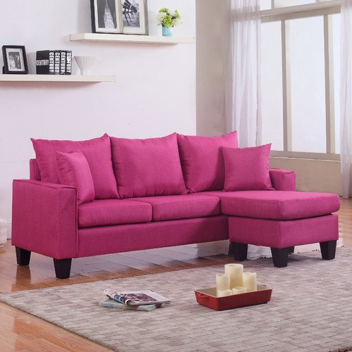 Modern Linen Fabric Small Space Sectional Sofa with Reversible ...