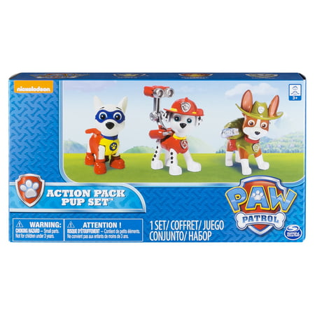 Paw Patrol Action Pack Pups Figure Set, 3pk, Tracker, Apollo, - Action Pak