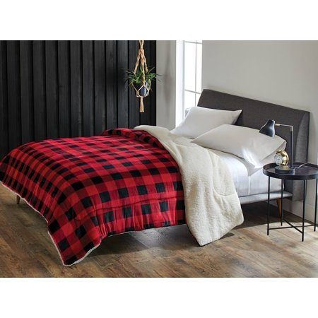 Better Homes and Gardens Reversible Plaid Velvet Sherpa Comforter, King