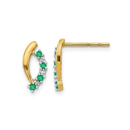 Gold 14x10mm Emerald (1/7 Carat (ctw) Natural Green Emerald Post Earrings in 14K Yellow Gold)