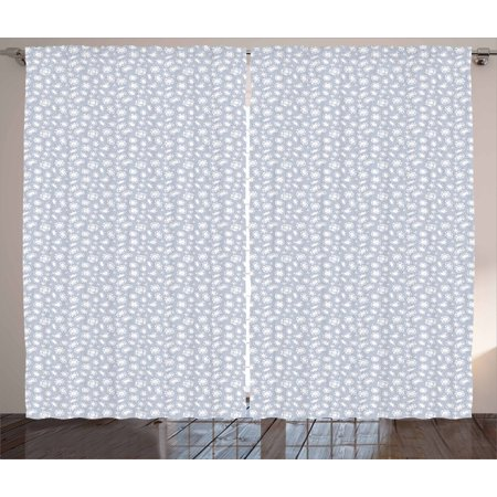 Diamonds Curtains 2 Panels Set, Sketch Style Crystals Hearts Pentagon Rectangle and Rhombus Shapes Hand Drawn, Window Drapes for Living Room Bedroom, 108W X 96L Inches, Blue Grey White, by Ambesonne
