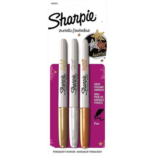 Sharpie Metallic Fine Point Permanent Markers, Assorted 3 ea (Pack of 4)
