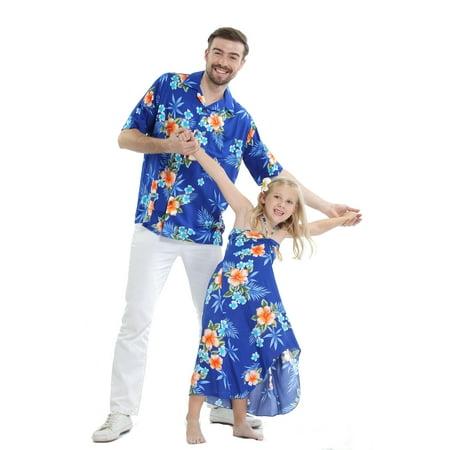 Matching Father Daughter Hawaiian Luau Cruise Outfit Shirt Dress Hibiscus Blue Men L Girl 4