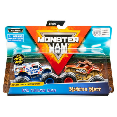 Monster Jam, Official Ice Cream Man vs. Monster Mutt Die-Cast Monster Trucks, 1:64 Scale, 2 Pack for $<!---->