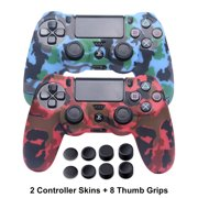 PS4 Controller Skins - Silicone Covers for DualShock 4 - Water Printed Protector Case Set for Sony PS4, PS4 Slim, PS4 Pro - 2 Pack Camo PS4 Accessories- 4 Pairs PS4 Thumb Grips - Red & Blue