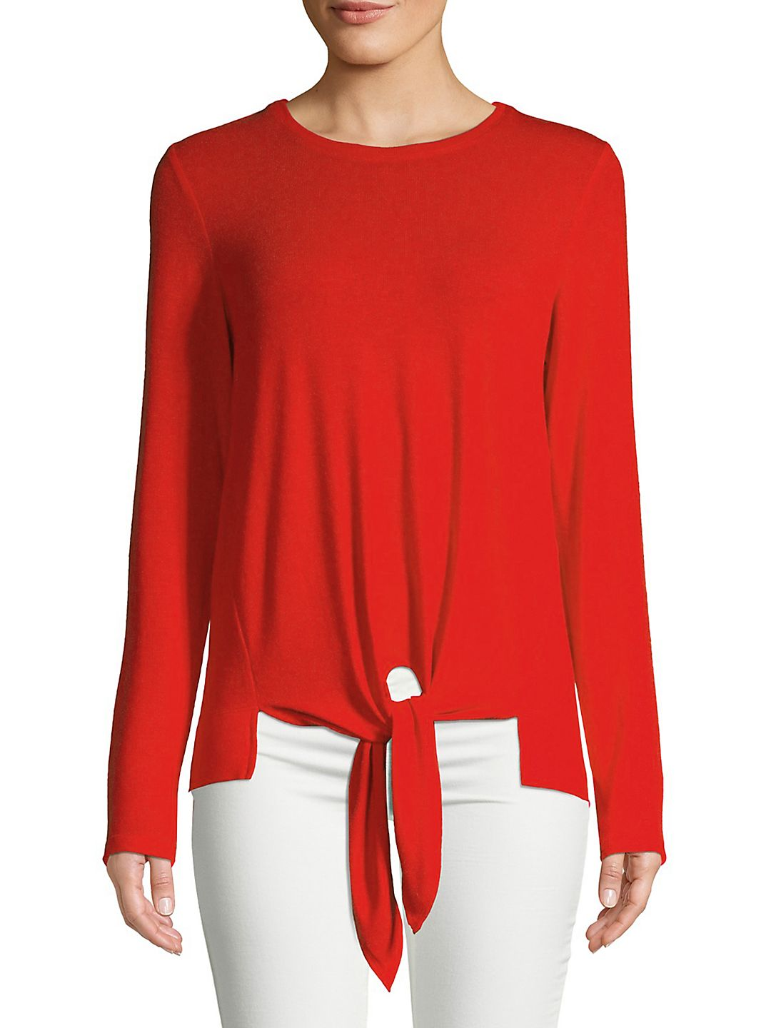 Long-Sleeve Self-Tie Top
