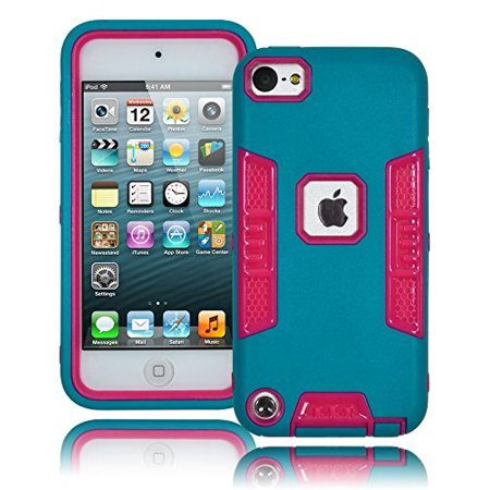 - Bastex Heavy Duty Robotic Design Hybrid Teal Rubberized Case with Hot Pink Hard Insert for Apple iPod Touch 5 & 6 [Compatible with iPod Touch 6]
