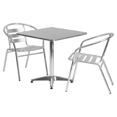 Aluminum Slat Table - Flash Furniture 27.5'' Square Aluminum Indoor-Outdoor Table with 2 Slat Back Chairs