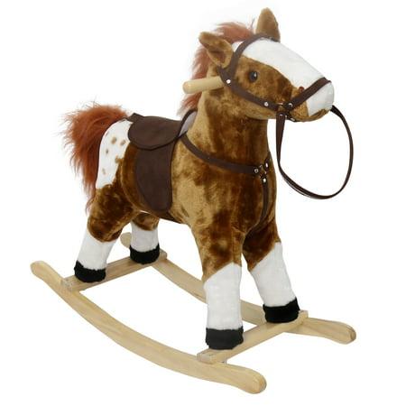 Kinbor Baby Kids Toy Plush Wooden Rocking Horse Boy Riding Rocker with Sound Dark Brown - Rocker Child